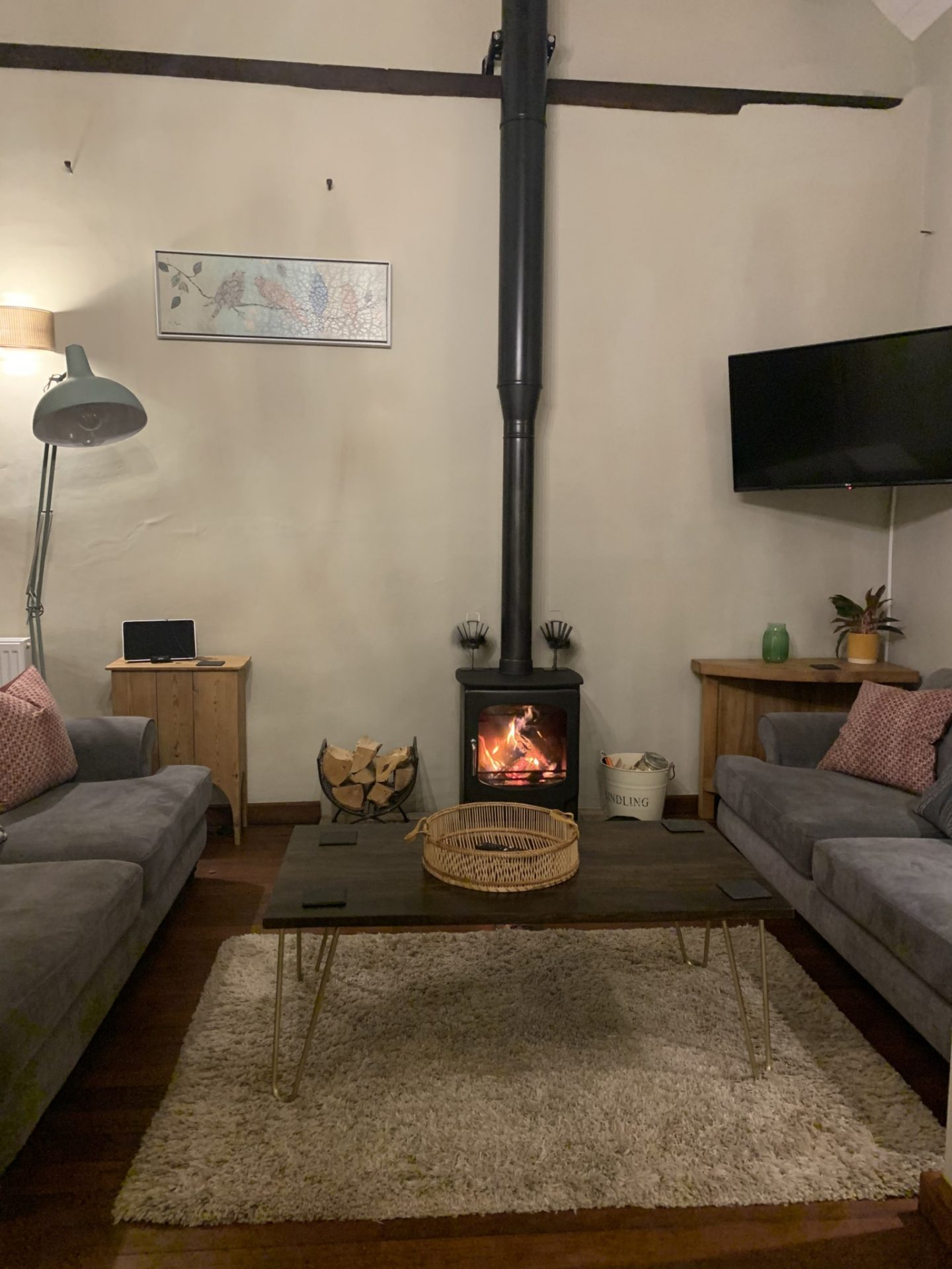 living area; table; TV; Woodburner